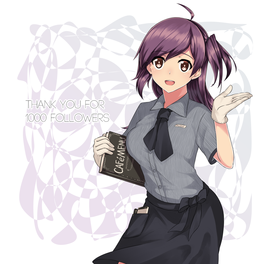 1girl ahoge bangs black_neckwear black_skirt blush breasts brown_eyes buttons character_name collared_shirt dated eyebrows_visible_through_hair gloves hagikaze_(kantai_collection) hair_between_eyes hand_up holding_menu jouhou kantai_collection long_hair menu name_tag neckerchief notepad one_side_up open_mouth pen purple_hair shirt side_ponytail sidelocks skirt smile solo striped striped_shirt thighs twitter_username white_gloves