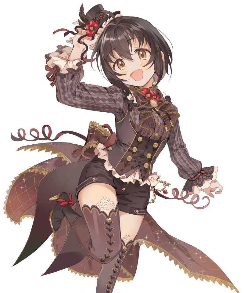 1girl ahoge argyle_shirt black_hair blush boots bow brown_eyes chains collar commentary cross-laced_legwear dress_shirt eyebrows_visible_through_hair flower frilled_collar frilled_sleeves frills gold_chain gold_trim hat hat_feather hat_flower hat_ribbon high_heel_boots high_heels idolmaster idolmaster_cinderella_girls idolmaster_cinderella_girls_starlight_stage inzup jewelry kohinata_miho looking_at_viewer neck_bow open_mouth red_ribbon ribbon shirt short_hair shorts simple_background smile solo sparkle thigh-highs top_hat underbust white_background wrist_ribbon