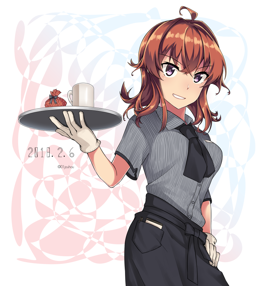 1girl ahoge alternate_costume alternate_eye_color arashi_(kantai_collection) bangs black_neckwear black_skirt blush collared_shirt commentary_request crossed_bangs cup dated eyebrows_visible_through_hair gift gloves hair_between_eyes hand_on_hip holding holding_tray jouhou kantai_collection messy_hair mug name_tag neckerchief notepad parted_lips pen pocket redhead shirt sidelocks skirt smile solo striped striped_shirt tray twitter_username violet_eyes white_gloves