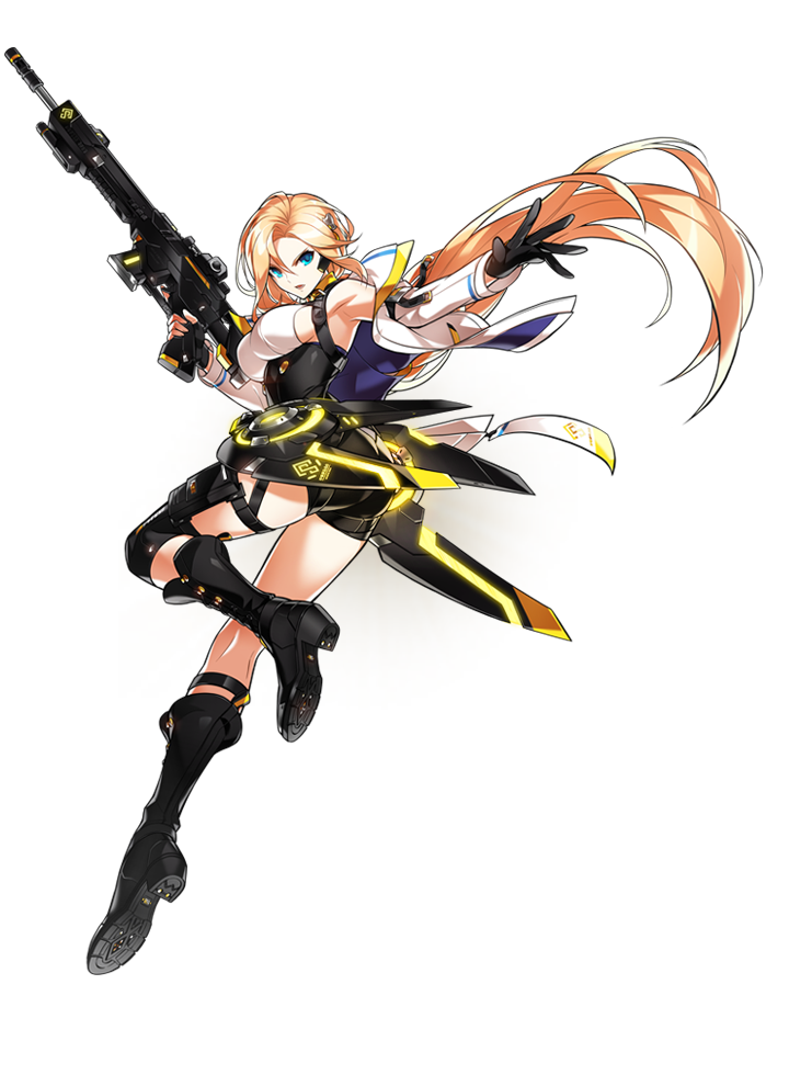 1girl armpits artist_request black_footwear black_gloves black_shorts blonde_hair blue_eyes boots elsword fingerless_gloves full_body gloves gun holding holding_gun holding_weapon jacket knee_boots long_hair looking_at_viewer minerva_(elsword) official_art rose_(elsword) serious shorts solo weapon white_jacket