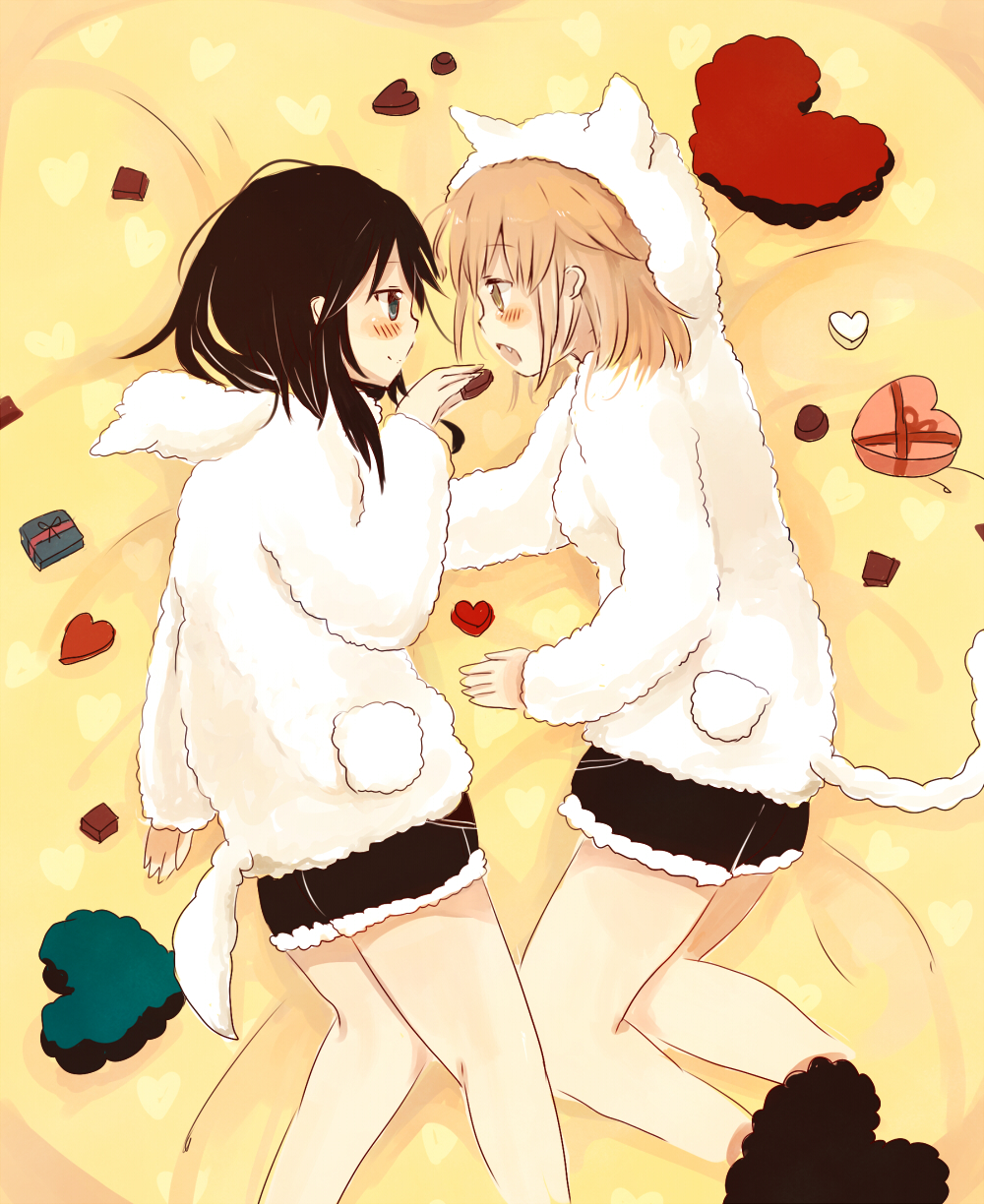 2girls animal_ears animal_hood bangs black_hair black_shorts blue_eyes blush box brown_eyes cat_ears cat_hood cat_tail chocolate chocolate_heart closed_mouth dog_ears dog_hood dog_tail eye_contact eyebrows_visible_through_hair fang feet foomi gift gift_box hair_between_eyes heart heart-shaped_box heart_print highres holding hood hood_down hood_up hoodie light_brown_hair long_sleeves looking_at_another loungewear lying multiple_girls on_side open_mouth original profile short_shorts shorts sleeves_past_wrists smile tail white_hoodie yuri