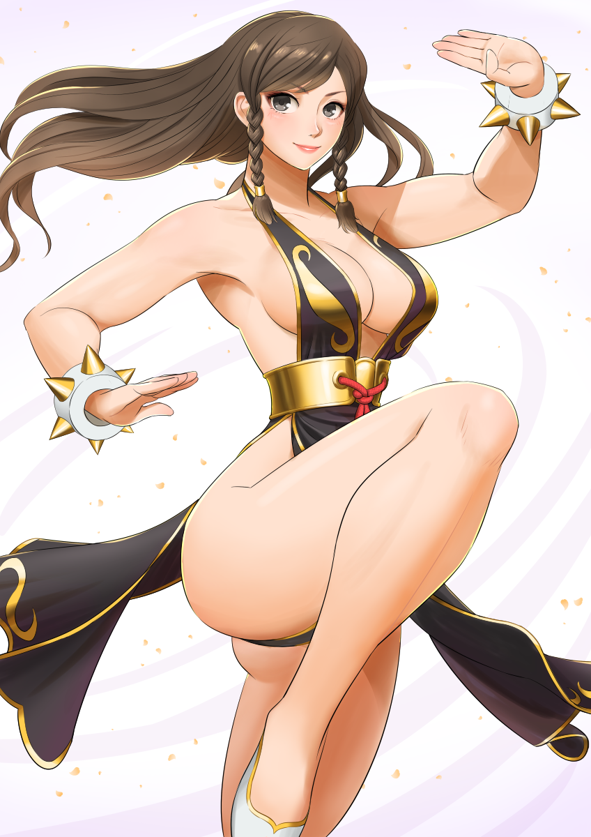 1girl alternate_costume alternate_hairstyle bracelet breasts brown_hair chun-li dress fighting_stance highres jewelry looking_at_viewer shigenobu smile solo spiked_bracelet spikes street_fighter street_fighter_v