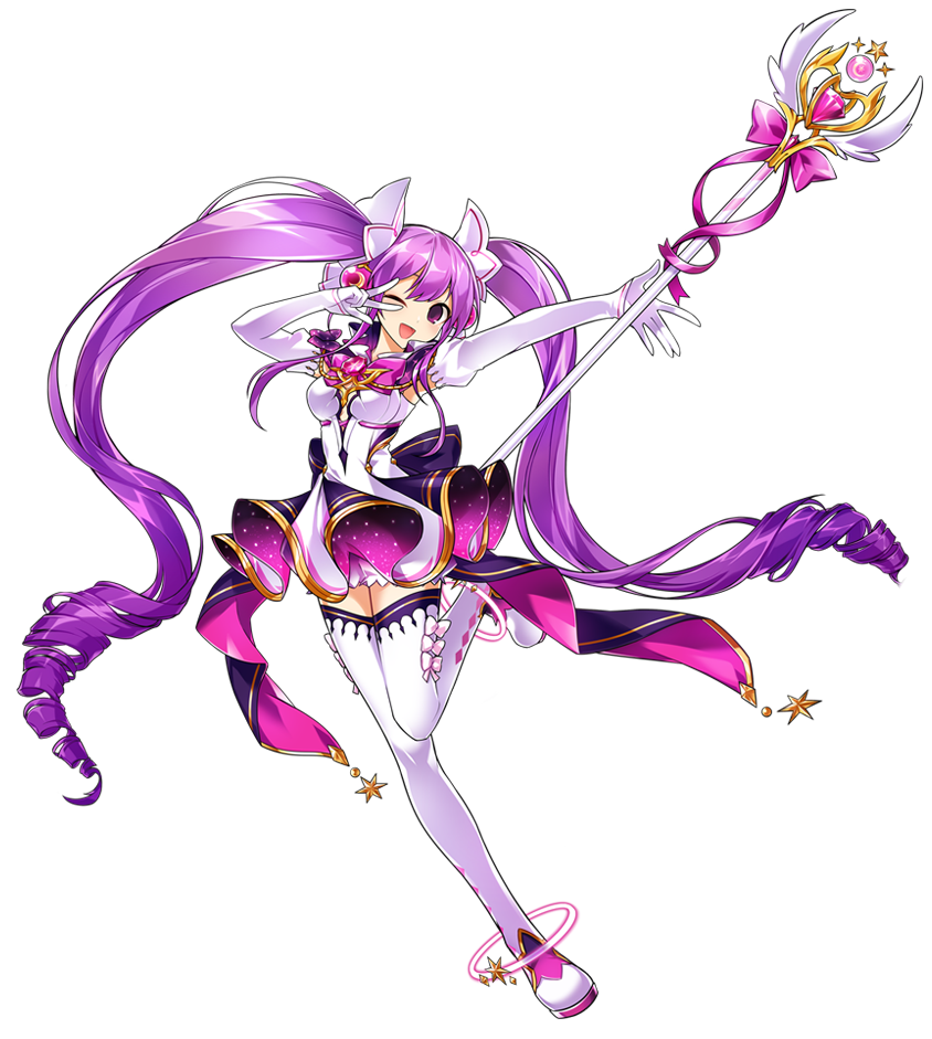 1girl ;d aisha_(elsword) artist_request boots bow brooch curly_hair dress elbow_gloves elsword full_body gloves jewelry long_hair looking_at_viewer magical_girl metamorphy_(elsword) official_art one_eye_closed open_mouth pink_bow purple_hair smile solo staff standing standing_on_one_leg thigh-highs thigh_boots twintails v violet_eyes white_bow white_dress white_footwear white_gloves zettai_ryouiki