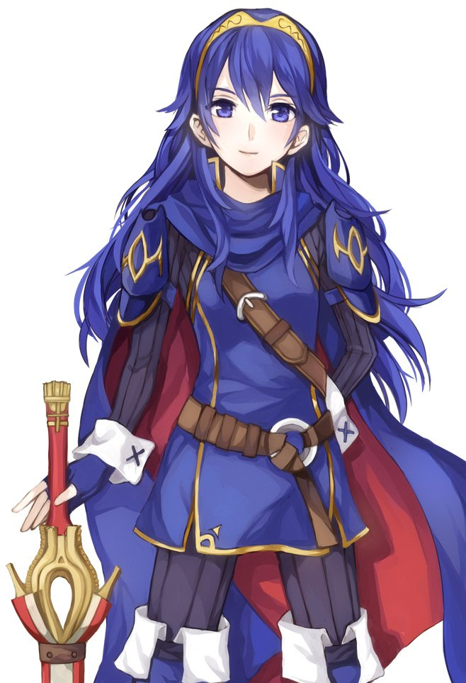 1girl blue_eyes blue_hair blush cape falchion_(fire_emblem) fire_emblem fire_emblem:_kakusei long_hair looking_at_viewer lucina solo tiara