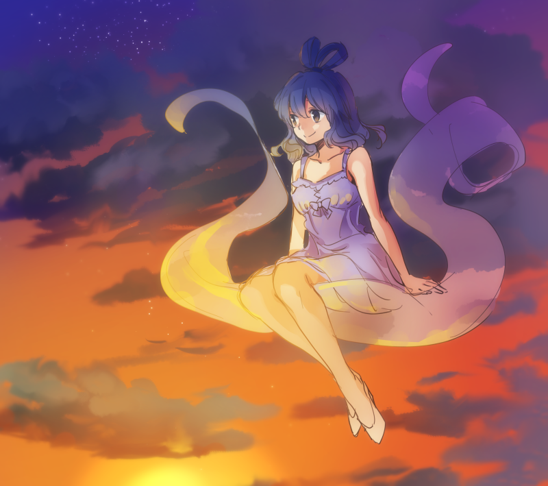 1girl alternate_costume bangs bare_arms blue_dress blue_hair brown_eyes closed_mouth clouds cloudy_sky dress dusk full_body hair_rings kaku_seiga looking_to_the_side makuwauri shawl sitting sky smile solo star_(sky) sun touhou white_footwear