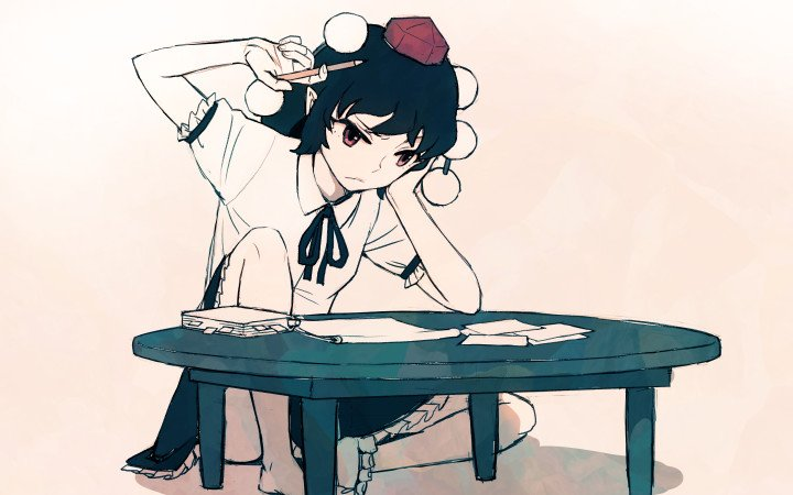 1girl barefoot black_hair chin_rest frown hat meimaru_inuchiyo neck_ribbon paper pencil pointy_ears pom_pom_(clothes) red_eyes ribbon shameimaru_aya short_hair sitting skirt solo table tokin_hat touhou