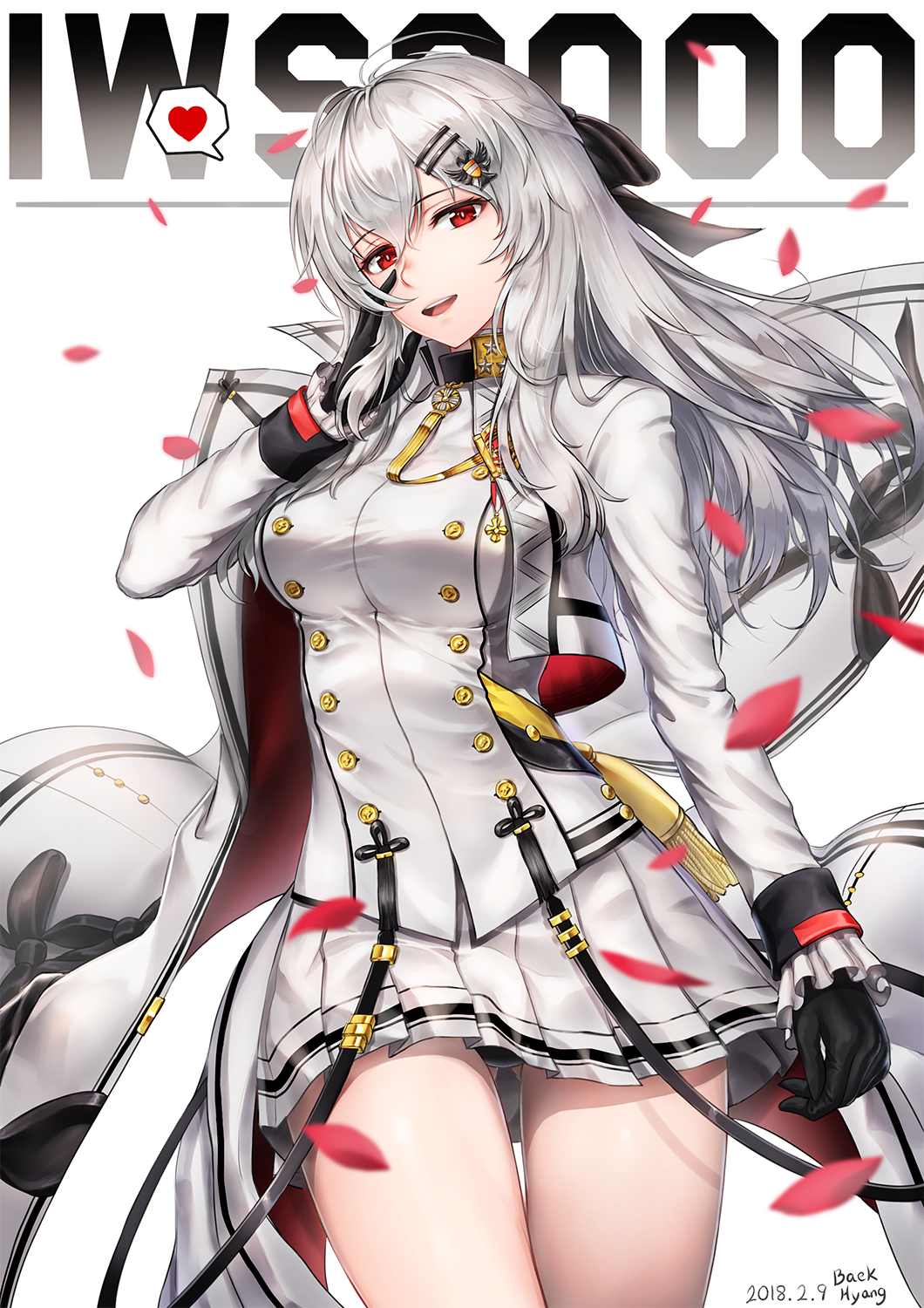 1girl arm_at_side artist_name baek_hyang bangs black_gloves black_panties blush bow breasts buttons character_name collared_jacket cowboy_shot cropped_jacket dated double-breasted eyebrows_visible_through_hair floating_hair frilled_sleeves frills fringe girls_frontline gloves gluteal_fold hair_between_eyes hair_ornament hair_ribbon hairclip half-closed_eyes hand_to_own_face heart highres iws-2000_(girls_frontline) large_breasts legs_crossed long_hair long_sleeves looking_at_viewer medal military military_uniform open_mouth panties pantyshot pantyshot_(standing) petals pleated_skirt red_eyes ribbon shirt sidelocks silver_hair simple_background skirt smile solo standing strap tassel thighs underwear uniform watson_cross weapon white_background wind wind_lift
