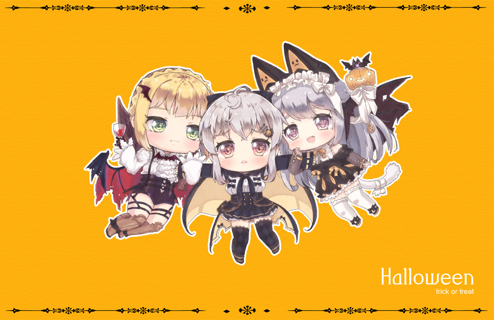 3girls :< :d animal_ears bangs black_cape black_footwear black_gloves black_legwear black_skirt blonde_hair blush boots braid brown_eyes brown_footwear cape chibi closed_mouth commentary_request cross crown_braid cup drinking_glass eyebrows_visible_through_hair fang fang_out foreign_blue girls_frontline gloves green_eyes hair_between_eyes hair_ornament hairclip halloween holding holding_drinking_glass iws-2000_(girls_frontline) knee_boots long_hair long_sleeves looking_at_viewer multicolored multicolored_cape multicolored_clothes multiple_girls open_mouth orange_background outstretched_arms p7_(girls_frontline) red_wings shirt silver_hair skirt sleeves_past_wrists smile spread_arms thigh-highs triangle_mouth trick_or_treat upper_teeth very_long_hair welrod_mk2_(girls_frontline) white_legwear white_shirt wide_sleeves wine_glass wing_hair_ornament wings