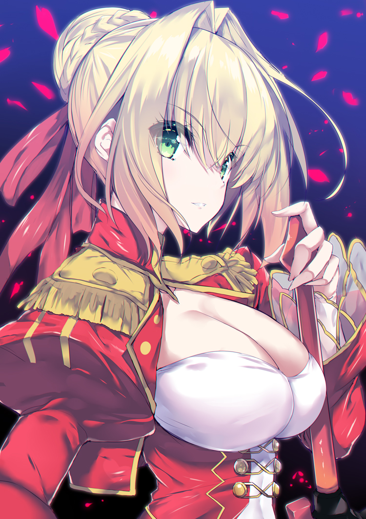 1girl bangs blonde_hair braid breasts cleavage commentary_request dress eyebrows_visible_through_hair fate/extra fate_(series) fingernails green_eyes hair_between_eyes hair_bun hair_intakes jacket juliet_sleeves large_breasts long_sleeves looking_away nero_claudius_(fate) nero_claudius_(fate)_(all) noto_kurumi parted_lips petals puffy_sleeves red_dress red_jacket solo