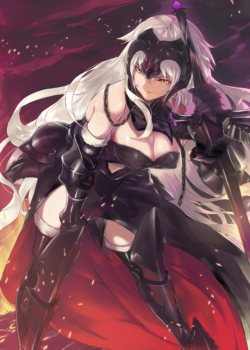 1girl armor bare_shoulders black_footwear black_gloves boots breasts cape ceda_(dace) chains cleavage cowboy_shot detached_sleeves fate/grand_order fate_(series) faulds gloves greaves headpiece holding holding_weapon jeanne_d'arc_(alter)_(fate) jeanne_d'arc_(fate)_(all) leaning_forward leaning_on_object long_hair looking_away navel_cutout orange_eyes slit_pupils standing sweat sword thigh-highs thigh_boots thighs vambraces weapon white_hair