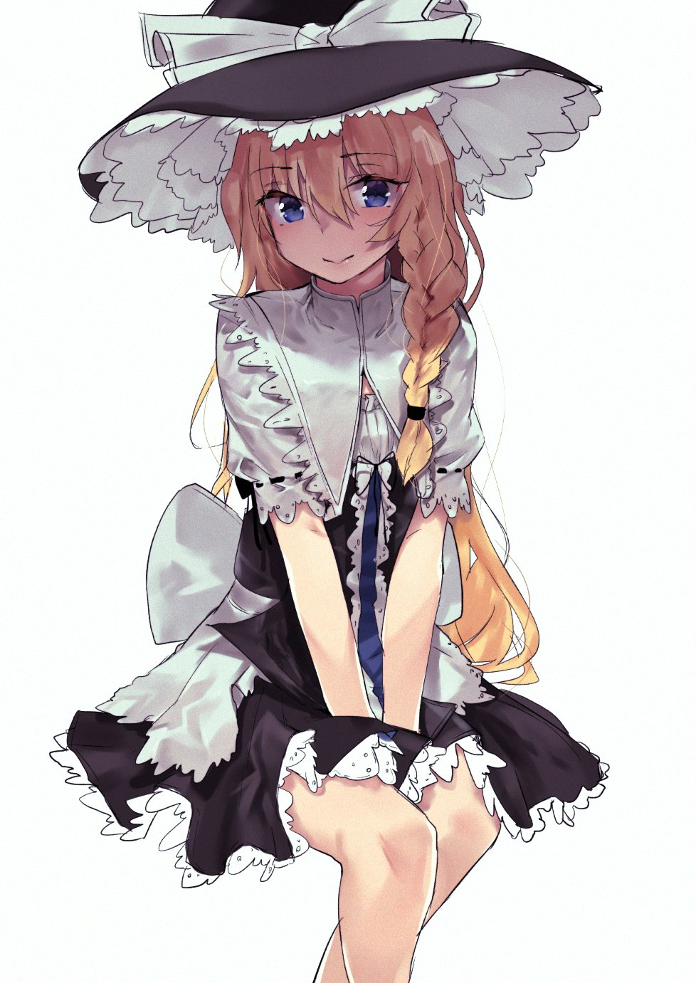 1girl asuzemu bangs between_legs black_dress blue_eyes bow braid closed_mouth dress embellished_costume eyebrows_visible_through_hair feet_out_of_frame hair_between_eyes hair_tie hand_between_legs hat hat_bow highres invisible_chair kirisame_marisa large_bow long_hair looking_at_viewer ribbon-trimmed_sleeves ribbon_trim short_sleeves side_braid sitting smile solo touhou v_arms very_long_hair white_background white_bow white_capelet witch_hat