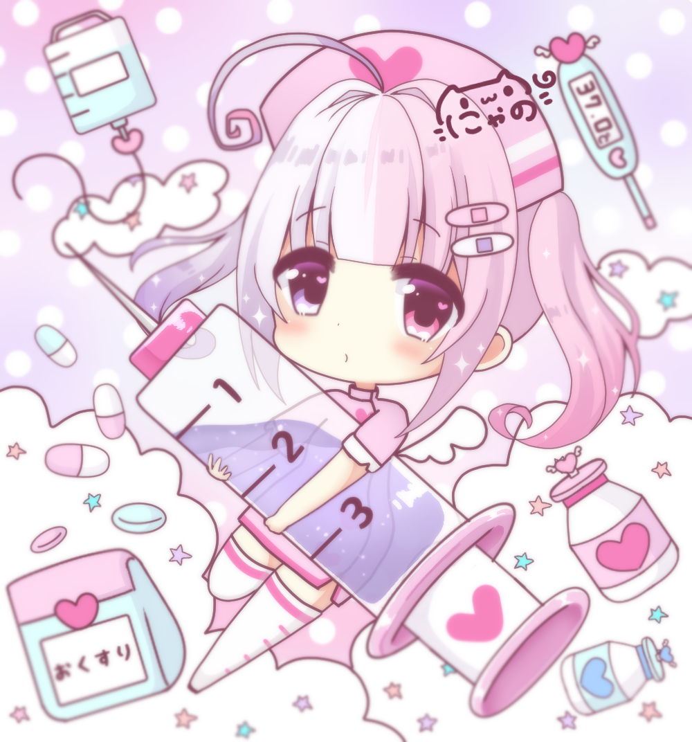 1girl ahoge bottle chibi clouds commentary_request dress full_body hair_ornament hat heart heart_in_eye heart_print heterochromia holding holding_syringe intravenous_drip long_hair looking_at_viewer nurse nurse_cap nyano21 original pill pink_dress pink_eyes pink_hair polka_dot polka_dot_background short_sleeves sidelocks signature solo star syringe thermometer thigh-highs twintails violet_eyes white_legwear