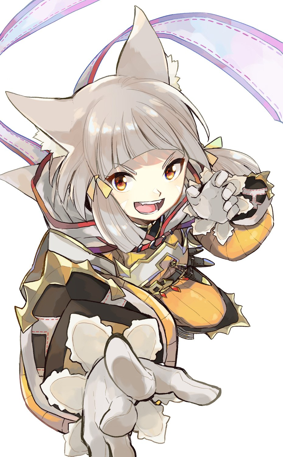 1girl animal_ears bangs blunt_bangs bodysuit cat_ears eyebrows gloves highres hood kinagi_(3307377) looking_at_viewer niyah ribbon short_hair silver_hair simple_background smile solo xenoblade xenoblade_2 yellow_bodysuit yellow_eyes