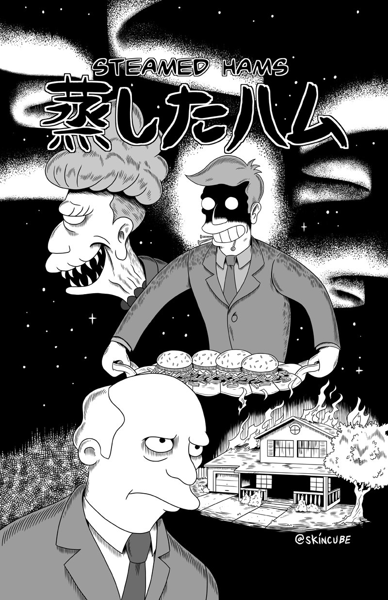 agnes_skinner commentary creepy food french_fries gary_chalmers hamburger highres horror itou_junji_(style) meme monochrome parody seymour_skinner skincube steamed_hams style_parody the_simpsons twitter_username