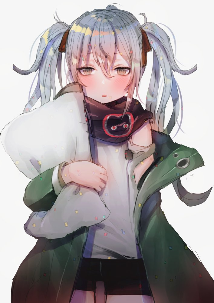 1girl alternate_hairstyle bangs black_shorts blush brown_eyes confetti eyebrows_visible_through_hair g11_(girls_frontline) girls_frontline hair_between_eyes hair_ribbon half-closed_eyes hanato_(seonoaiko) holding holding_pillow jacket long_hair looking_at_viewer open_clothes open_mouth pillow red_ribbon ribbon scarf shirt shorts shoulder_cutout sidelocks silver_hair solo thighs two_side_up very_long_hair