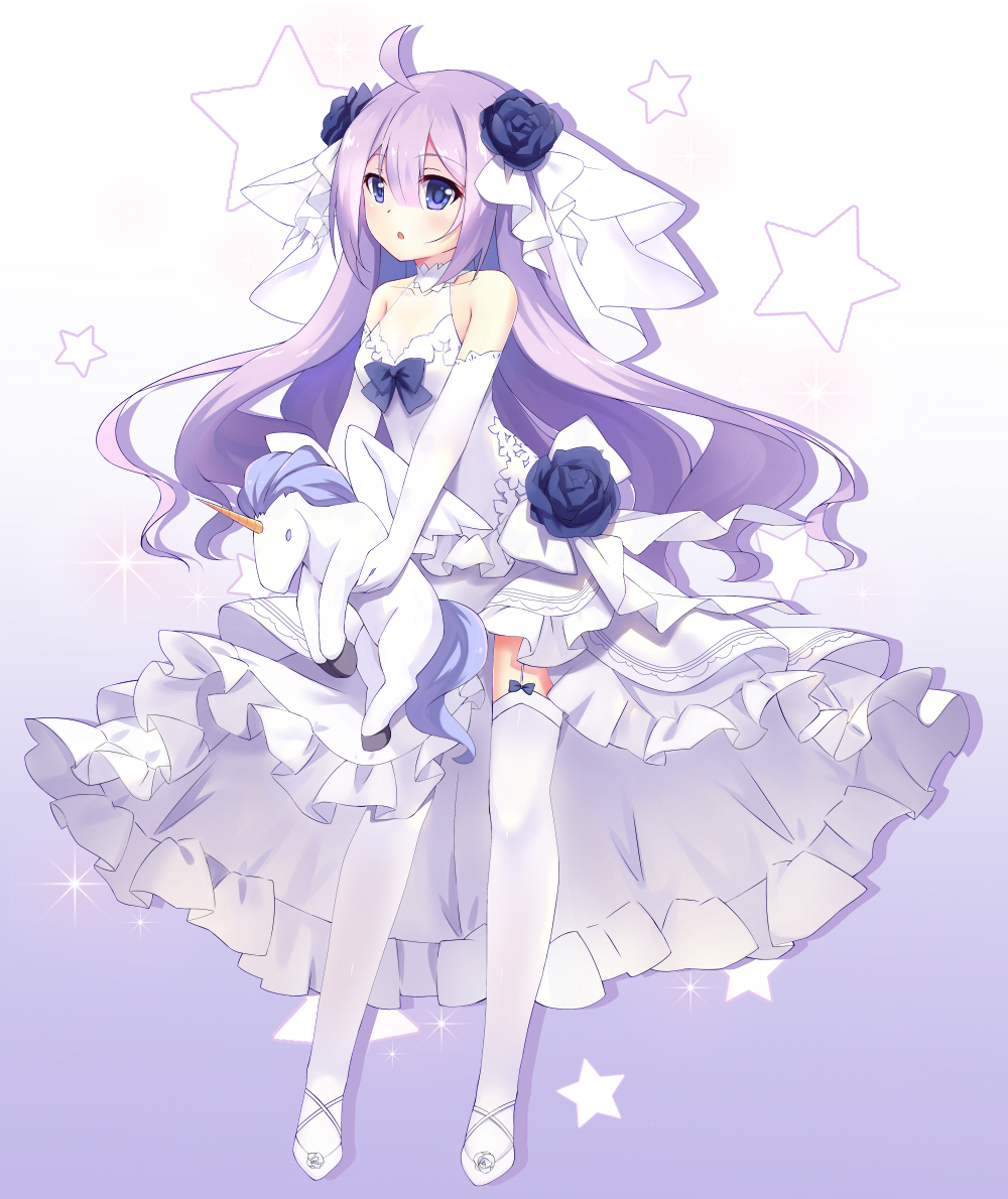 1girl ahoge azur_lane bridal_veil commentary_request dress elbow_gloves garter_straps gloves hair_down lingsexuanlv long_hair looking_at_viewer purple_hair simple_background solo stuffed_animal stuffed_pegasus stuffed_toy stuffed_unicorn thigh-highs unicorn_(azur_lane) veil violet_eyes wedding_dress white_dress white_gloves white_legwear