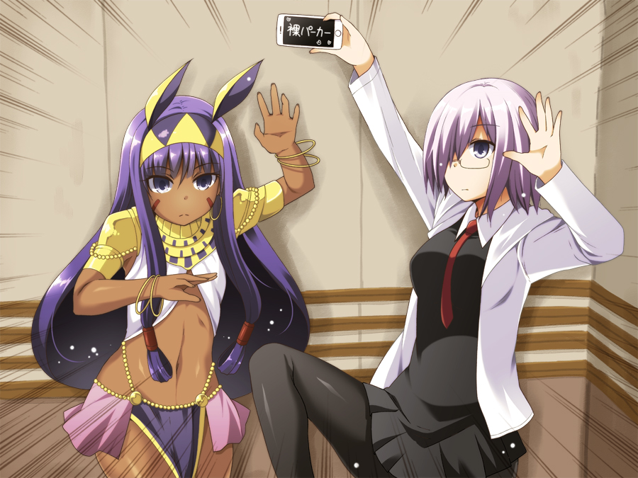 2girls :d black_dress black_legwear cellphone commentary_request dark_skin dress fate/grand_order fate_(series) glasses grey_eyes hair_over_one_eye hairband holding hooded_coat lavender_hair long_hair looking_at_viewer mash_kyrielight multiple_girls navel necktie nitocris_(fate/grand_order) open_mouth pantyhose phone pose purple_hair short_hair smartphone smile standing standing_on_one_leg translation_request utsurogi_angu