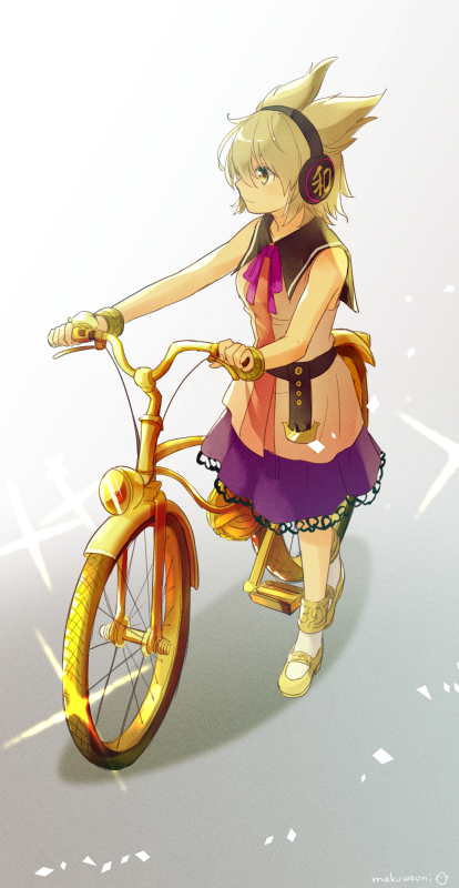1girl artist_name bicycle blonde_hair closed_mouth earmuffs full_body ground_vehicle makuwauri mary_janes neck_ribbon pointy_hair purple_ribbon purple_skirt ribbon shoes short_hair skirt sleeveless socks solo standing standing_on_one_leg touhou toyosatomimi_no_miko white_legwear yellow_eyes yellow_footwear