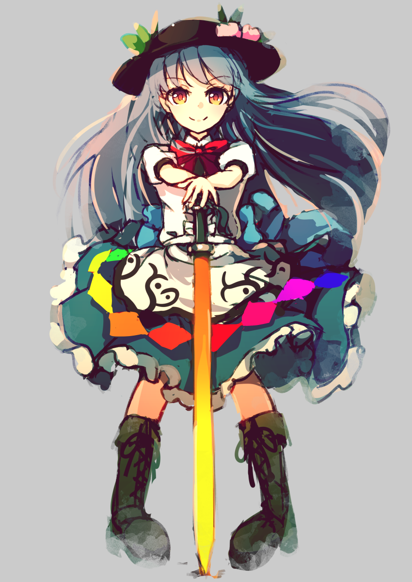 1girl apron black_hat blue_hair blue_skirt brown_footwear cross-laced_footwear dise dress_shirt food fruit grey_background hat highres hinanawi_tenshi long_hair peach puffy_short_sleeves puffy_sleeves rainbow_order red_eyes shirt shoes short_sleeves skirt solo standing sword_of_hisou touhou very_long_hair