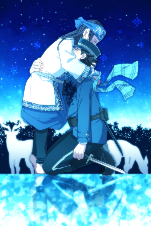 1boy 1girl ainu ainu_clothes asirpa bandanna black_hair blood bloody_clothes checkered checkered_scarf child closed_eyes earrings golden_kamuy hat holding holding_knife hug itou_(mogura) jewelry kneeling knife long_hair military military_uniform outdoors peaked_cap scarf short_hair snowing sugimoto_saichi uniform weapon