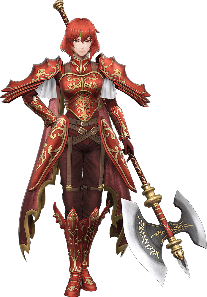 1girl armor fire_emblem fire_emblem:_monshou_no_nazo full_body gloves headband looking_at_viewer minerva_(fire_emblem) official_art polearm red_armor red_eyes redhead short_hair solo spear weapon