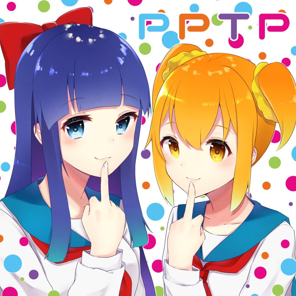 2girls bangs blue_eyes blue_hair bow brown_eyes closed_mouth collarbone commentary_request eyebrows_visible_through_hair finger_to_mouth fingernails hair_between_eyes hair_bow hair_ornament hair_scrunchie long_hair long_sleeves looking_at_viewer middle_finger multicolored multicolored_polka_dots multiple_girls neckerchief orange_hair pipimi polka_dot polka_dot_background poptepipic popuko red_bow red_neckwear school_uniform scrunchie serafuku shiarisu shirt short_twintails sidelocks smile twintails very_long_hair white_background white_shirt yellow_scrunchie