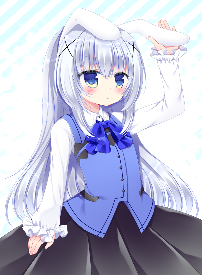 1girl animal_ears arm_up bangs black_skirt blue_eyes blue_neckwear blue_vest blush bow bowtie collared_shirt commentary_request diagonal-striped_background diagonal_stripes eyebrows_visible_through_hair fingernails gochuumon_wa_usagi_desu_ka? hair_between_eyes hair_ornament kafuu_chino kemonomimi_mode long_hair long_sleeves parted_lips rabbit_ears rabbit_house_uniform shikito shirt sidelocks silver_hair skirt sleeves_past_wrists solo uniform very_long_hair vest waitress white_shirt x_hair_ornament