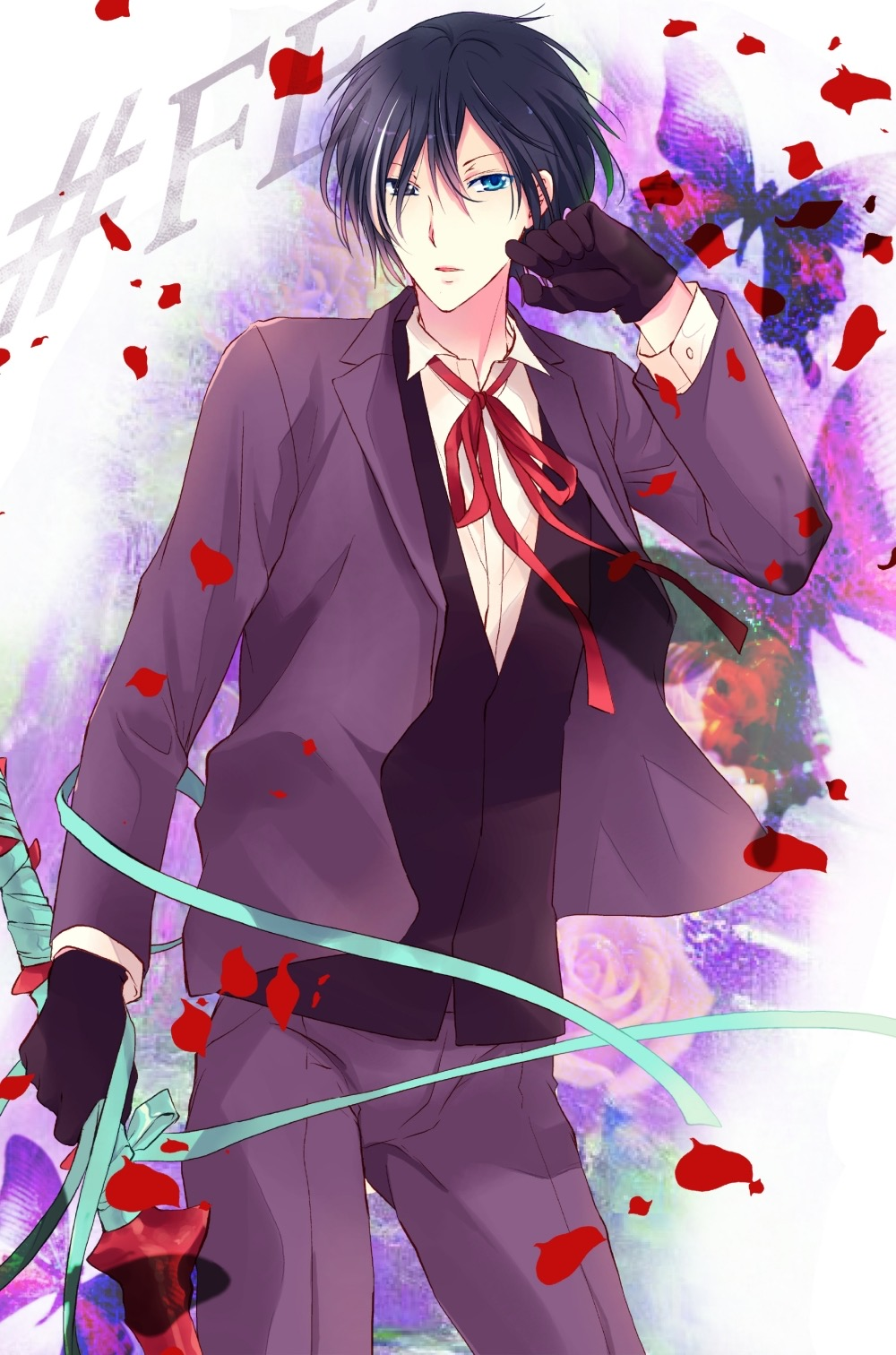 1boy bandage black_hair blue_eyes bow bowtie butterfly copyright_name flower gen'ei_ibunroku_sharp_fe gloves highres male_focus multicolored_hair open_mouth petals rose shirayuki_shion solo sword tsurugi_yashiro two-tone_hair weapon white_hair