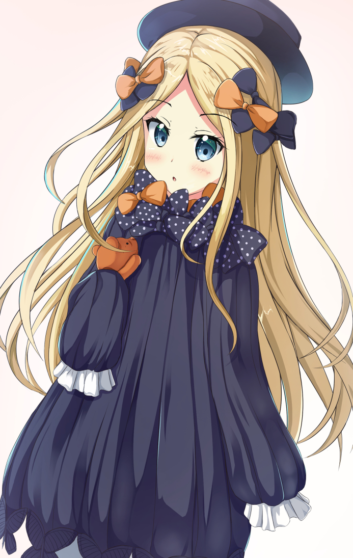 1girl :o abigail_williams_(fate/grand_order) bangs black_bow black_dress black_hat blonde_hair blue_eyes blush bow butterfly commentary_request dress eyebrows_visible_through_hair fate/grand_order fate_(series) hair_bow hat long_hair long_sleeves looking_at_viewer object_hug orange_bow parted_bangs parted_lips sleeves_past_fingers sleeves_past_wrists solo stuffed_animal stuffed_toy teddy_bear tsuyukina_fuzuki very_long_hair