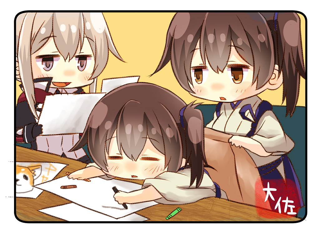 3girls :d artist_name black_gloves blonde_hair blue_hakama brown_eyes brown_hair capelet dual_persona gloves graf_zeppelin_(kantai_collection) grey_eyes hair_between_eyes hakama holding holding_paper japanese_clothes kaga_(kantai_collection) kantai_collection long_hair long_sleeves military military_uniform multiple_girls open_mouth paper short_hair side_ponytail sidelocks smile taisa_(kari) tasuki twintails uniform