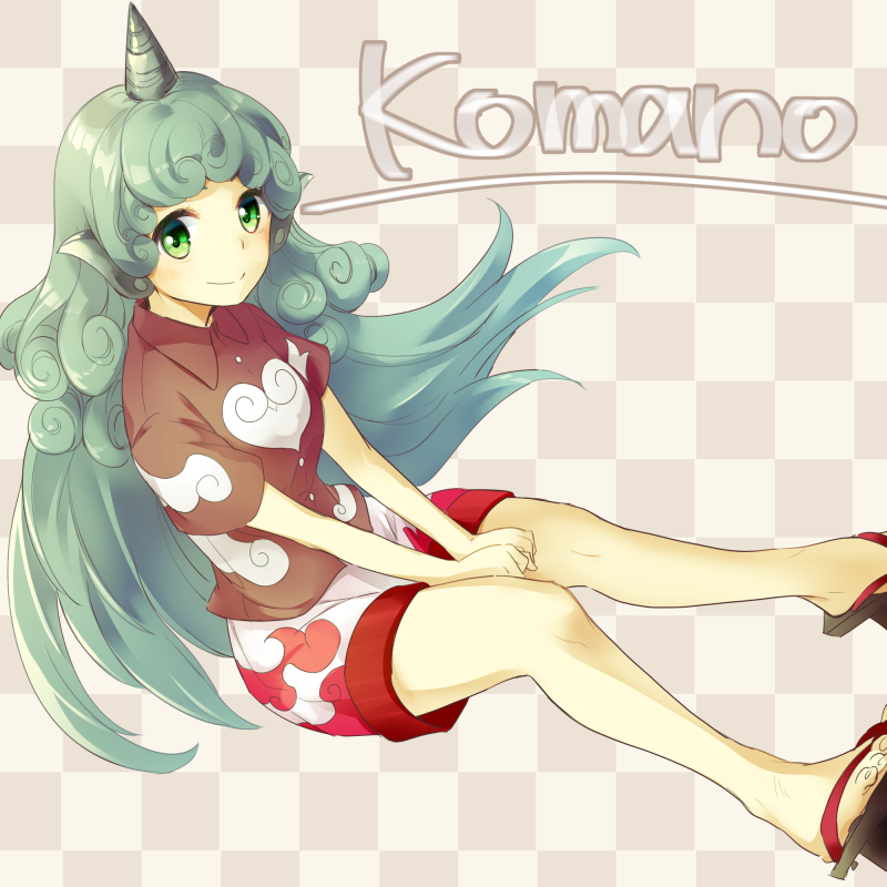 1girl animal_ears blush character_name checkered checkered_background closed_mouth collared_shirt geta green_eyes green_hair horn komano_aun long_hair looking_at_viewer makuwauri own_hands_together shirt short_sleeves shorts smile solo touhou very_long_hair