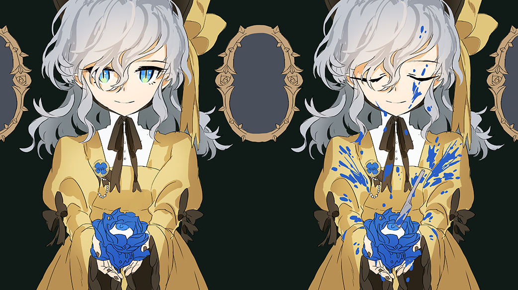 alternate_costume blue_blood blue_eyes blue_flower blue_rose closed_eyes dress dual_persona flower grey_hair hair_ribbon knife komeiji_koishi long_hair looking_at_viewer mirror neck_ribbon ribbon rose seeker silver_hair slit_pupils smile third_eye touhou wide_sleeves yellow_dress