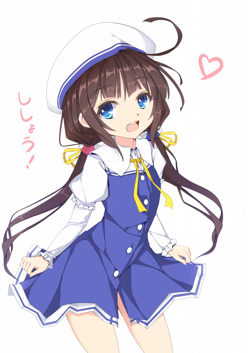 1girl :d ahoge bangs beret blue_dress blue_eyes brown_hair commentary_request dress eyebrows_visible_through_hair fingernails hat heart highres hinatsuru_ai kouusagi long_hair long_sleeves looking_at_viewer low_twintails open_mouth puffy_short_sleeves puffy_sleeves ryuuou_no_oshigoto! school_uniform short_over_long_sleeves short_sleeves simple_background smile solo translation_request twintails upper_teeth very_long_hair white_background white_hat