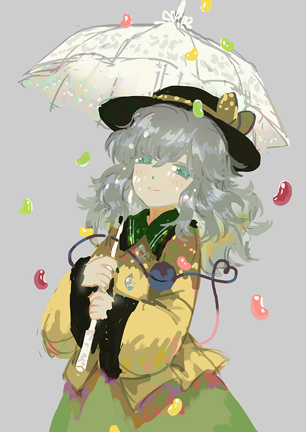 1girl candy food green_eyes grey_background grey_hair hat jelly_bean komeiji_koishi long_hair looking_at_viewer seeker smile solo third_eye touhou umbrella