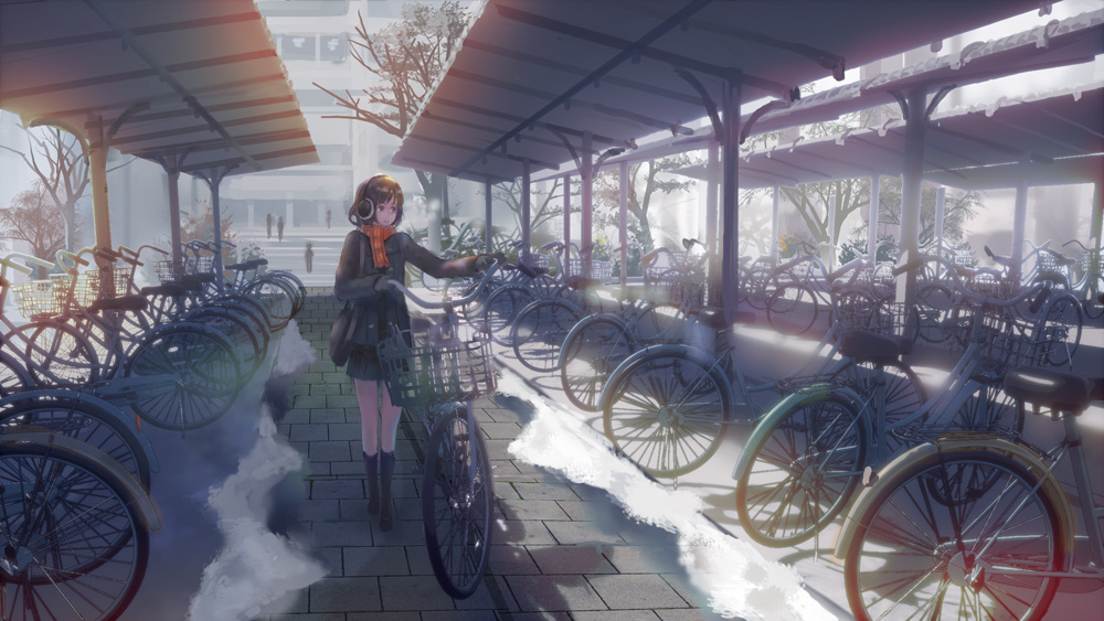 1girl bag bicycle bicycle_basket brown_eyes brown_hair coat commentary_request denki earmuffs gloves ground_vehicle looking_afar original outdoors scarf scenery short_hair shoulder_bag skirt snow solo walking winter