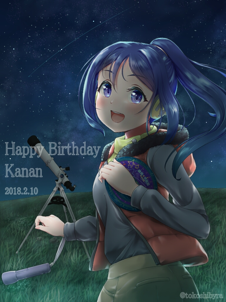 blue_hair dress long_hair matsuura_kanan purple_eyes
