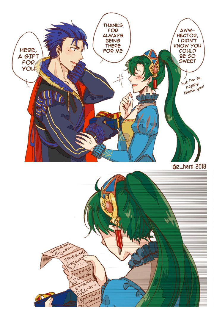 1boy 1girl artist_request blue_hair english fire_emblem fire_emblem:_rekka_no_ken fire_emblem_heroes gift gloves green_eyes green_hair hector_(fire_emblem) high_ponytail long_hair lyndis_(fire_emblem) ponytail short_hair smile
