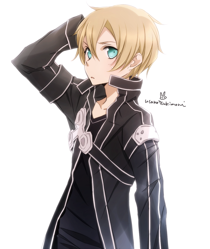 1boy aqua_eyes arm_up black_shirt blonde_hair collarbone cosplay eugeo hair_between_eyes hand_in_hair kirito kirito_(cosplay) male_focus parted_lips shirt signature simple_background solo standing sword_art_online tsukimori_usako upper_body white_background