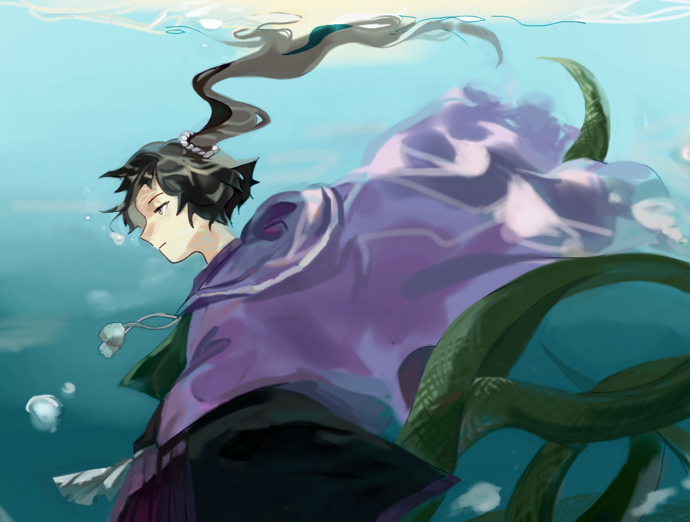 adagumo_no_yaorochi androgynous black_hair cape grey_eyes hakama japanese_clothes len'en long_hair multiple_tails ponytail scarf side_ponytail snake_tail solo tail