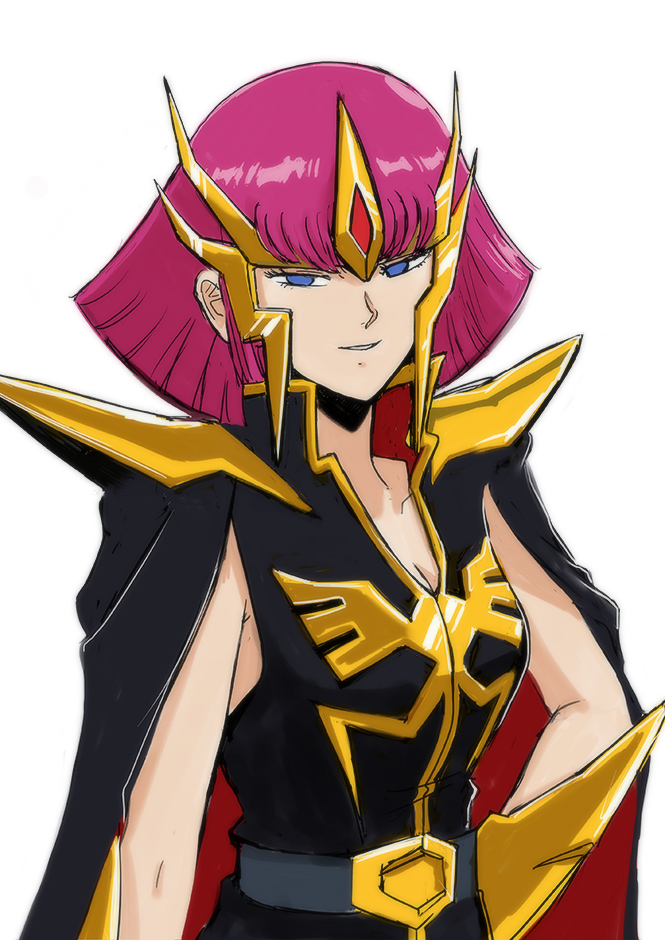 1girl blue_eyes breasts cape cleavage commentary_request gacha-m gundam gundam_zz haman_karn purple_hair short_hair solo zeta_gundam