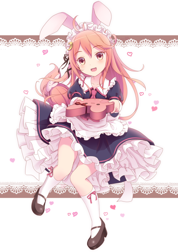 1girl :d alternate_costume animal_ears apron box brown_footwear fake_animal_ears gift gift_box hair_between_eyes heart holding holding_gift irigoma_(jikabi_baisen) kantai_collection long_hair maid_apron maid_headdress open_mouth pink_hair rabbit_ears red_eyes shoes smile solo uzuki_(kantai_collection) valentine very_long_hair white_apron white_legwear