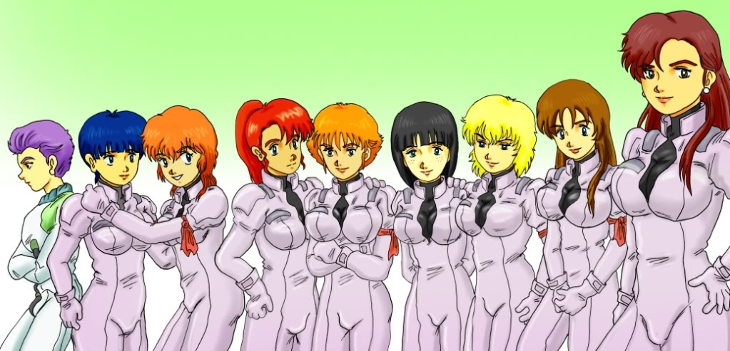 6+girls black_hair blonde_hair blue_hair breasts connie_francis francesca_o'hara gundam juca_meilasch junko_jenko kate_bush large_breasts mahalia_merril miliera_katan multiple_girls normal_suit orange_hair peggy_lee pilot_suit purple_hair redhead shrike_team(victory_gundam) victory_gundam