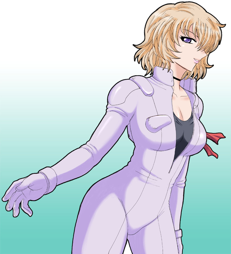 1girl blonde_hair blue_eyes breasts choker gundam large_breasts normal_suit peggy_lee pilot_suit s.shimizu short_hair smile unzipped victory_gundam