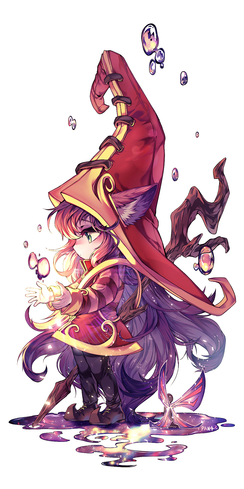 1girl animal_ears black_legwear boots dress eyelashes from_side full_body green_eyes half-closed_eyes hat highres league_of_legends long_hair long_sleeves lulu_(league_of_legends) panza purple_hair solo staff standing very_long_hair witch_hat yordle