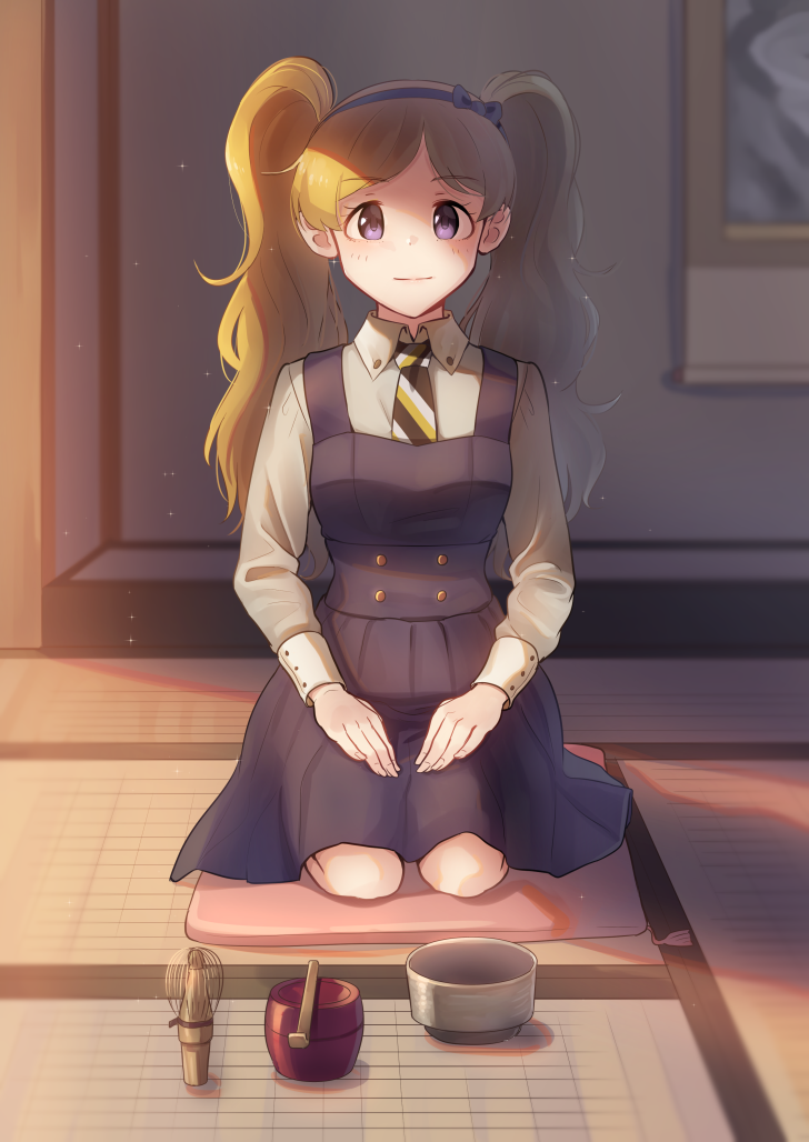 1girl black_bow black_skirt blonde_hair blush bow closed_mouth emily_stewart eyebrows_visible_through_hair hairband idolmaster idolmaster_million_live! kamille_(vcx68) long_hair long_sleeves looking_at_viewer necktie seiza sitting skirt smile solo striped_neckwear twintails violet_eyes