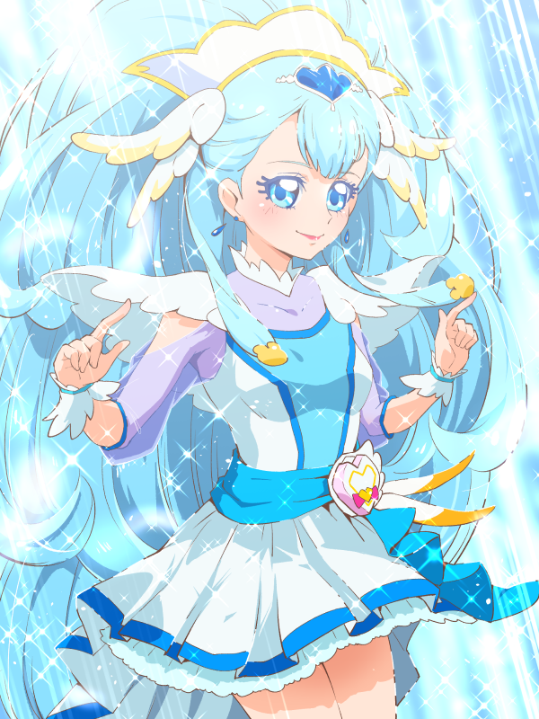 blue_eyes blue_hair cure_ange dress earrings hair_ornament hugtto!_precure jewelry long_hair magical_girl precure tj-type1 yakushiji_saaya