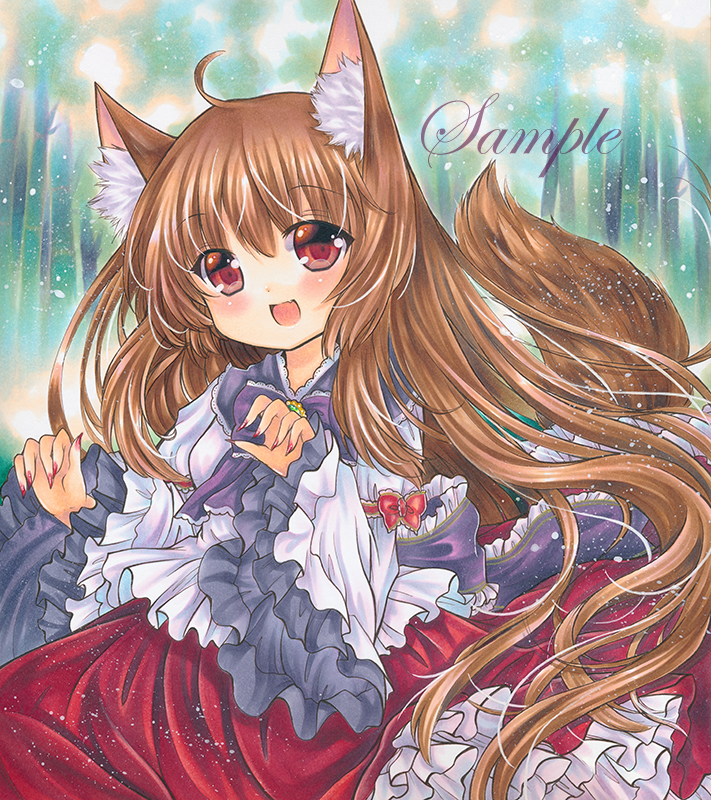 1girl :d animal_ears brown_hair dress embellished_costume fang frilled_sleeves frills imaizumi_kagerou long_hair long_sleeves marker_(medium) nail_polish open_mouth red_eyes red_nails rui_(sugar3) smile tail touhou traditional_media wide_sleeves wolf_ears wolf_tail