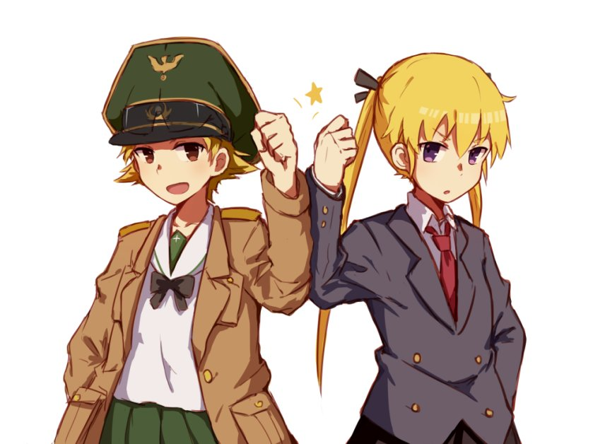 2girls alice_(openhexagon) black_ribbon black_skirt blonde_hair blue_eyes blush brown_eyes erwin_(girls_und_panzer) eyebrows_visible_through_hair girls_und_panzer green_skirt hand_in_pocket kill_me_baby long_hair long_sleeves looking_at_viewer multiple_girls necktie open_mouth parted_lips red_neckwear ribbon short_hair skirt smile sonya_(kill_me_baby) star twintails