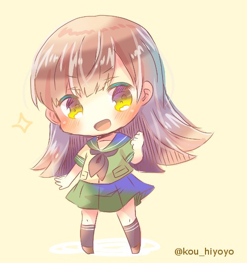 1girl black_legwear black_neckwear brown_eyes brown_hair chibi full_body green_sailor_collar green_serafuku green_skirt kantai_collection kouu_hiyoyo long_hair neckerchief ooi_(kantai_collection) pleated_skirt sailor_collar school_uniform serafuku simple_background skirt socks solo standing twitter_username yellow_background
