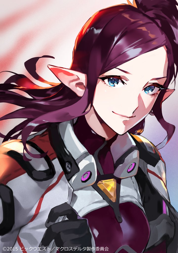 1girl birthday blue_eyes bodysuit commentary jacket macross macross_delta maroon_hair mirage_farina_jenius mita_chisato pilot_suit pointy_ears smile upper_body
